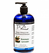 Premium Taza Natural Omega-3 Hemp & Aloe Rosemary Lavender Botanical Shampoo, 470ml ♦ For Healthy, Silky Hair ♦ Contains