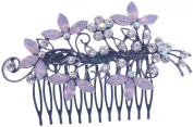 Womens Bridal Flower Jelly Crystal Hair Side Combs