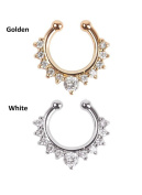 Oasis Plus 2pcs Clear Crystal Gold and White Non Piercing Clip On Septum Fake Nose Ring Stud