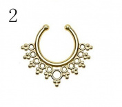 Oasis Plus Gold IP Bubbles and Beads Non Piercing Clip On Septum Fake Nose Ring Stud