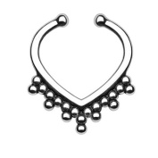 Oasis Plus Silver Beads Non Piercing Clip On Septum Fake Nose Ring Stud Rings Body Jewellery
