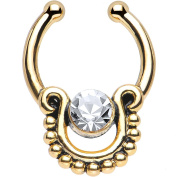 Oasis Plus Clear Crystal Gold IP Egyptian Queen Non Piercing Clip On Septum Fake Nose Ring Stud
