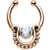 Oasis Plus Clear Crystal Rose Gold IP Egyptian Queen Non Piercing Clip On Septum Fake Nose Ring Stud