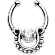 Oasis Plus Clear Crystal Silver IP Egyptian Queen Non Piercing Clip On Septum Fake Nose Ring Stud