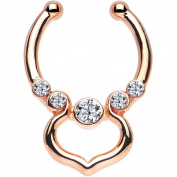 Oasis Plus Clear Gem Rose Gold IP Gothic Elegance Non-Pierced Clip On Septum Fake Nose Ring Stud