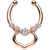 Oasis Plus Clear Gem Rose Gold IP Gothic Elegance Non-Pierced Clip On Septum Fake Nose Ring Stud