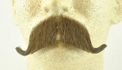 Rubies Colonel Major Moustache MEDIUM BROWN - no. 2014 - REALISTIC! 100% Human Hair