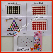 Assorted Multi-colour Velvet Dot Bindi Tattoo 120 Stickers Adhesive Body Jewellery By Golden India P53