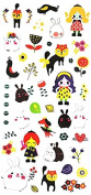 Grashine fake temp tattoo stickers for children, carton tattoos including many lovely and cute animals such as cats,rabbits,birds,dogs,girls,flowers,etc.
