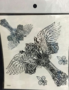 Grashine Large Angel wings cross fake temp tattoo stickers for men and women