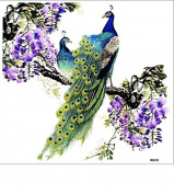 """Grashine New design and hot selling Extra large design 2.5m X 8.58"""" Inches (20.5CM*21.8CM) big purple flowers with 2 beautiful peacocks fake temp tattoo stickers"""