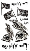 Grashine New design and hot selling skull head and crow and skull flag fake temp tattoo stickers