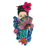 Grashine Halloween Tattoo for men and women beautiful girl with nice dress and fan temporary tattoo stickers