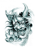 Grashine Halloween Tattoo for men and women ferocious monster with lotus temporary tattoo stickers