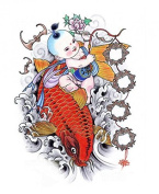 Grashine Halloween Tattoo for men and women lovely bady is sitting on the red fish temporary tattoo stickers
