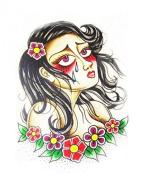 Grashine Halloween Tattoo for men and women sad girl is crying temporary tattoo stickers