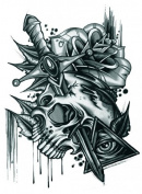 Grashine Halloween Tattoo for men and women terrible skull with roses and sword temporary tattoo stickers