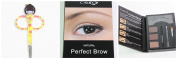 Cameo Cosmetics Perfect Brow- Natural Brown Eyebrows Colour Brush Stencils Tweezer Brush with Grooming Scissors Hair Trimmer
