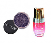 ITAY Minerals Cosmetics Glitter Powder Eye Shadow G-28 Wisteria + Liquid Sparkle Bond