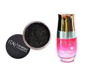 ITAY Minerals Cosmetics Glitter Powder Eye Shadow G-33 Black Rainbow + Liquid Sparkle Bond