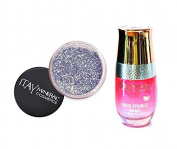 ITAY Minerals Cosmetics Glitter Powder Eye Shadow G-34 Sterling + Liquid Sparkle Bond
