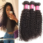 Longqi Hair Good Quality Brazilian Curly Hair Weave 18 18 46cm Virgin Human Hair Extensions Pack of 3 Unprocessed Natural Colour 95-100g/pc