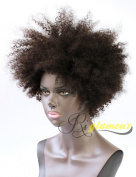 Riglamour Kinky Short Curly Human Hair Wigs for African American Real Indian 100% Remy Afro Wig for Black Women None Lace Machine Made Full Wig Natural Black Colour