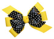 Webb Direct 2U Girls Black Dotted GrosGrain Hair Bow French Clip Yellow 8008A