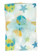 Stephan Baby Go Fish Cotton Muslin Swaddle Blanket, Blue Fishes