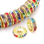 HYBEADS 100Pcs Crystal Rondelle Spacer Bead Gold Plated 6mm Multicolor