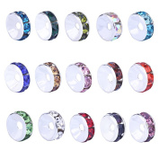 HYBEADS 15 ColorsX30Piece Each 8mm Silver Plated Crystal Rondelle Bead With Container Box Set