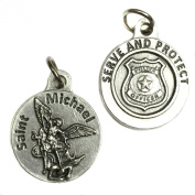 Lot of 4 Saint Michael Archangel Police Officer Serve and Protect Protection Medal Pendant Charm Silver Tone Made in Italy 1.9cm