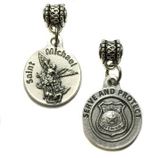 Saint St Michael Archangel Police Serve and Protect Protection Medal Pendant Charm Silver Tone Made in Italy 1.9cm