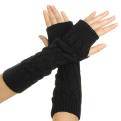 Eforcase Women Lady Girl Knitted Crochet Long Soft gloves Winter Warmer Braided Arm Fingerless Gloves Stretchy Wamer Knitting Thumb Hole Gloves Mittens Winter Hand Warmer Great gift for Xmas