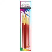 Custom Body Art 6 Piece Nylon Hair Face Painting Brush Set - 4 Round Size 2-4-6-10, 2 Flat Size 8-12