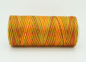 VARIEGATED PUMPKIN 0.6mm 100% Nylon Twisted Cord Thread Micro Macrame Beading Knitting Crochet Needle Crafts