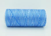 VARIEGATED BLUE 0.6mm 100% Nylon Twisted Cord Thread Micro Macrame Beading Knitting Crochet Needle Crafts
