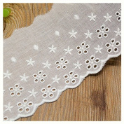 Ivory 3 Yard Hollwed Fabric Embroidered Cotton Lace Trim Dress Lace Craft Lace Sewing Lace 8.5cm Wide