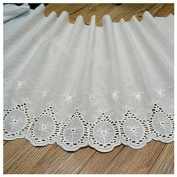 Ivory 3 Yard Embroidered Cotton Lace Trim Dress Lace Craft Lace Sewing Lace 34cm Wide