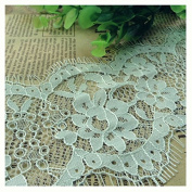 Ecru 3 Yards Retro Eyelash Embroidered Lace Ribbon Trim Dress Lace Craft Lace 8.9cm Wide