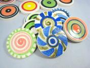 Yuan's Mosaic 7.1cm 5 Pieces Hand Glazed Lollipop Ceramic Multicoloured Mosaic Tile POP Art