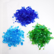 Ryukyu glass cullet [blue system 3 colour set small glass shards cold colour summer blue green light blue powder trading