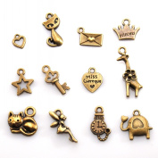 Small charm bags 48-piece set antique gold Yoshi Kaneko fairy cat stars, such as small charm resin accessories parts powder trading
