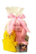 New Baby Gift Set Toddler Security Blanket:Pink Bunny,Chick Wash Mitt, First Board Book