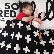 Silence-Shopping Cute Baby Blanket Pure Cotton Knitting Wool Blanket Black And White Cross Pattern Car Bed Stroller 90*110CM