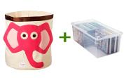 Elephant Canvas Bin Pink/Brown, Media Box Clear