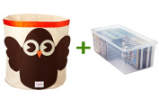 Owl Canvas Bin Brown/Orange, Media Box Clear