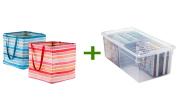 Umbra Square Crunch Can Blue Stripe, Media Box Clear