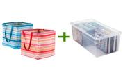 Umbra Square Crunch Can Pink Stripe, Media Box Clear