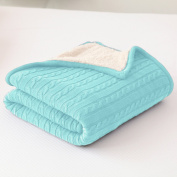 CottonTex Cotton Knitted Cable Throw Soft Warm Cover Blanket with Lining Cable Knitting Pattern, 120cm x 180cm , Turquoise